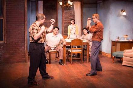 Ramon Camín (Eddie Carbone), Eddie Diaz (Marco), Ayssette Munoz (Catherine), Sandra Marquez (Beatrice) and Tommy Vega-Rivera (Rodolpho) in Arthur Miller's A View from the Bridge at Teatro Vista.